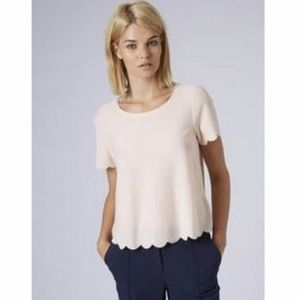 TOPSHOP Dusty Pink Scalloped Top